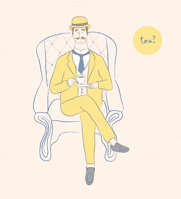 A Gentleman Drinking Tea