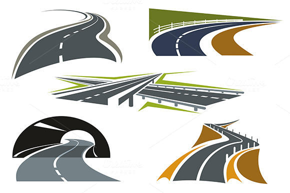 Road Freeway And Highway Icons Set