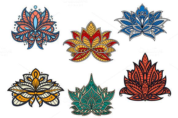 Indian Stylized Paisley Flowers