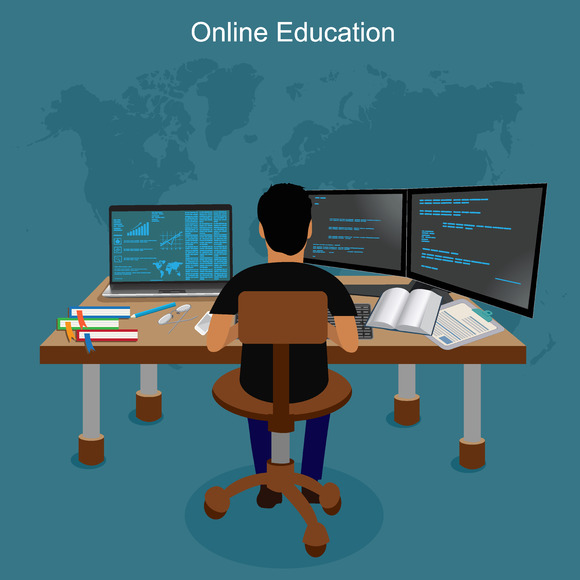 Online Education E-learning Vector