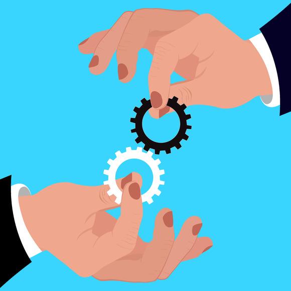 Team Work Gears Hands Vector