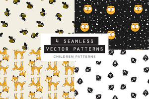 Children Seamless Patterns set of 4