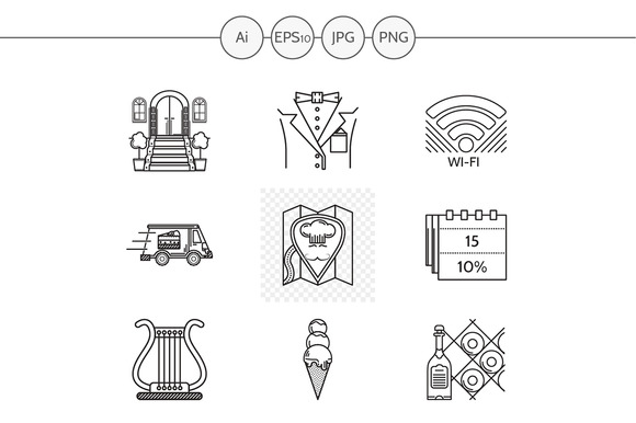 Restaurant Service Line Icons Set 1
