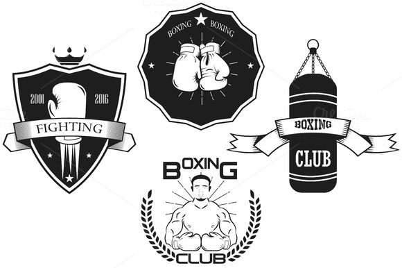 Set of vintage boxing emblems.vector - Illustrations