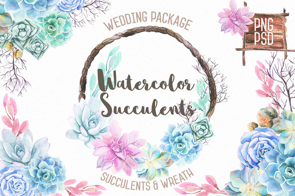 Watercolor Succulents Wreath