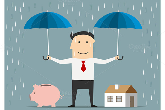 Businessman Holds Umbrellas