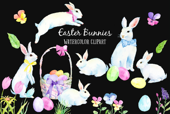 Watercolor Easter Bunny White Rabbit