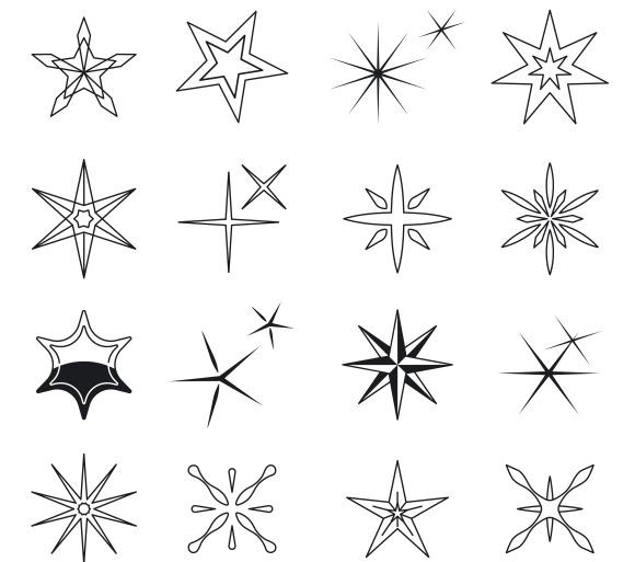 Vector Black Stars Symbols