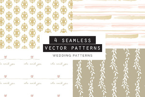 Wedding Seamless Patterns set of 4