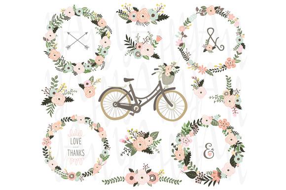 Vintage Floral Wreaths Bicycles