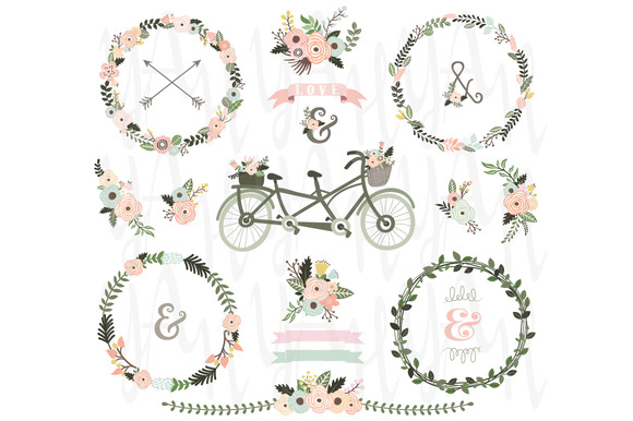 Floral Wreaths Bicycles Elements