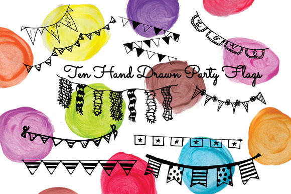10 Hand Drawn Party Flags