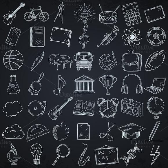 Set Of Doodle School Icons