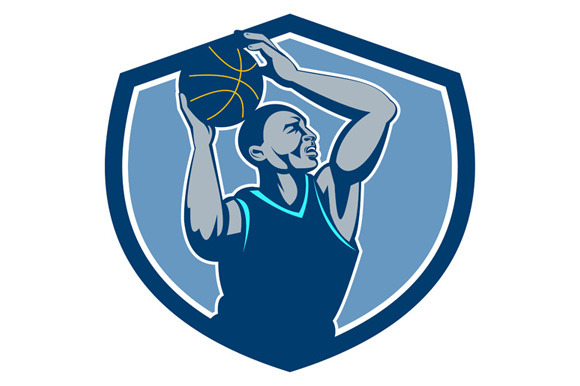 Basketball Player Rebounding Ball