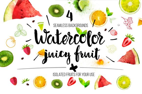 Vector Watercolor Juicy Fruit