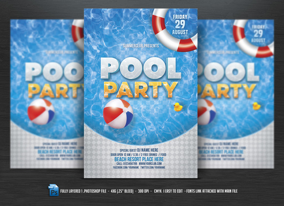 Pool party flyer flyer templates on creative market for Pool design templates
