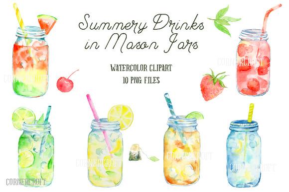 Watercolor Mason Jar Drinks