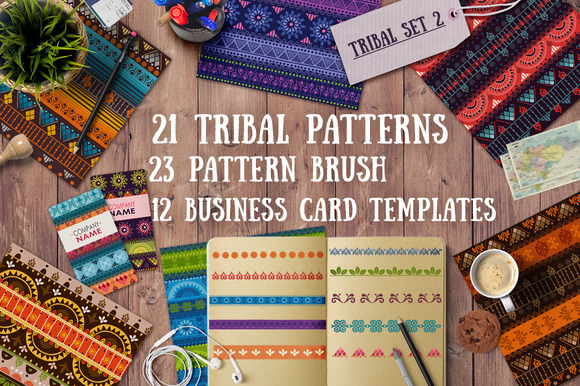 2.Tribal patterns, brushes and cards - Patterns