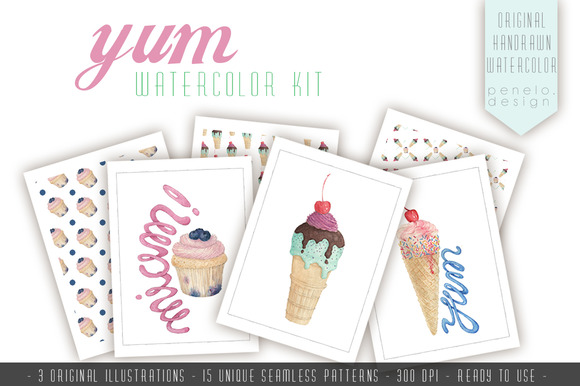 Watercolor Patterns Muffin Ice Cream