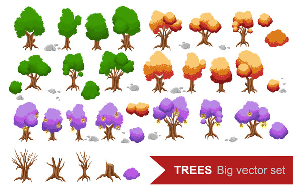Trees set. Trees for game. - Illustrations