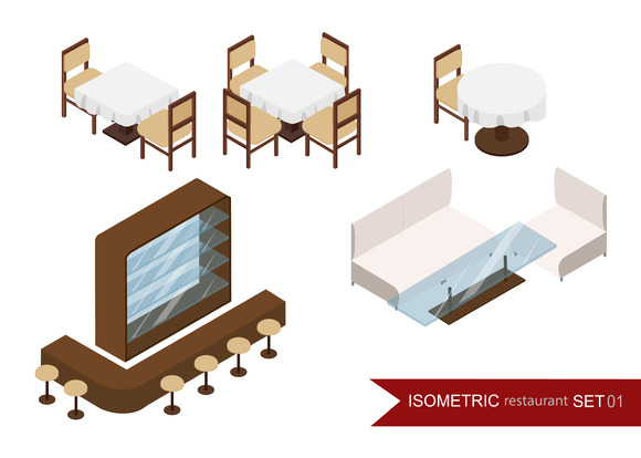 Isometric restaurant set. Interior. - Illustrations