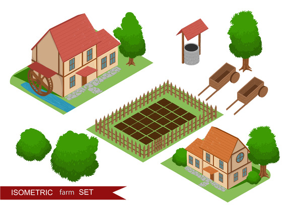 Isometric farm. Elements for game. - Illustrations