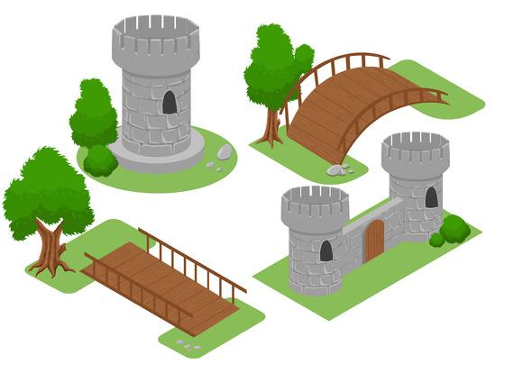 Isometric For Game Bridge Castle