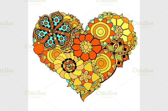 Heart Of Flower Doodle