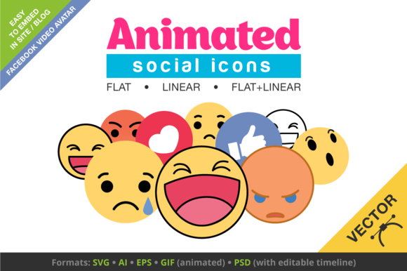 Animated Social Icons Video Avatars