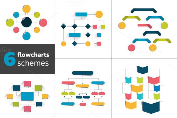 Flowchart Schemes For Infographics