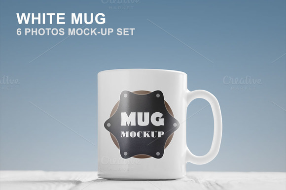 White Mug Mockup Set 6 Photos