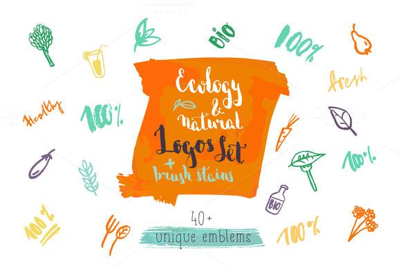 Ecology Natural Logo Set 40 Items