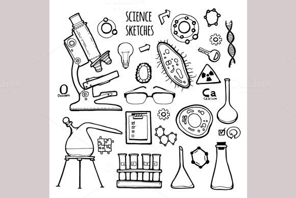 Science set. Sketch illustration. - Icons