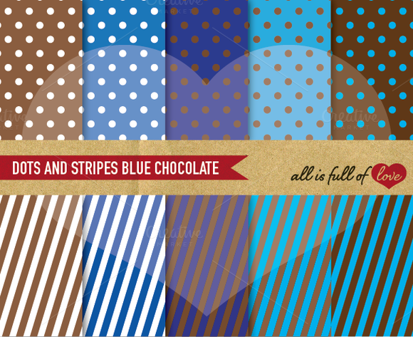 -40% Blue Brown Graphic Dots Stripes