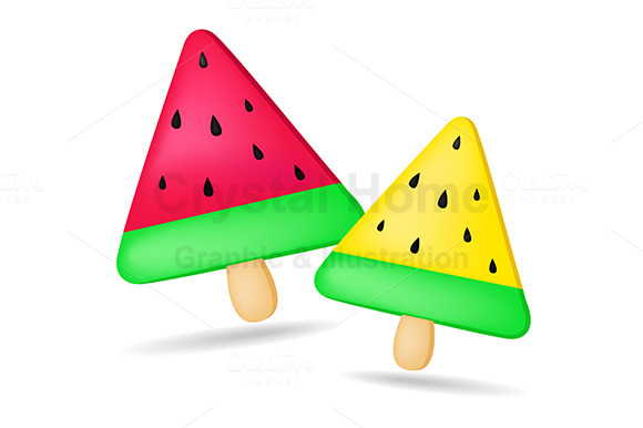 Melon Ice Cream Vector Graphic