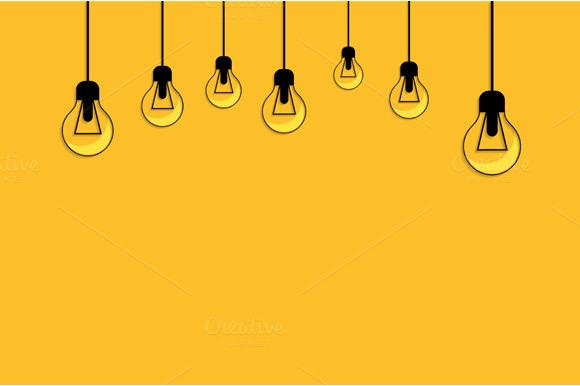 Glowing Yellow Light Bulb. Idea - Illustrations