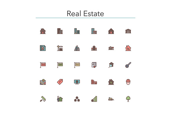 Real Estate Colored Line Icons