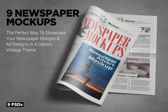 Tabloid Size Newspaper Mockups Vol.8 - Product Mockups
