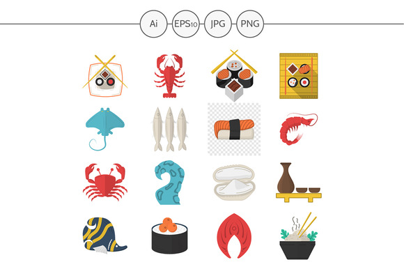 Seafood menu flat style icons. Set 2 - Icons