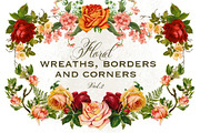 Floral Wreaths Borders & Co-Graphicriver中文最全的素材分享平台