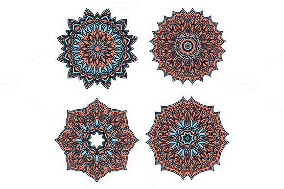 Circular Retro Floral Patterns