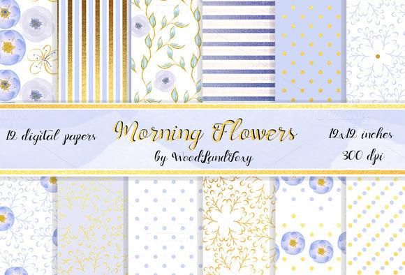 Blue Flowers Digital Paper. 12x12 - Patterns