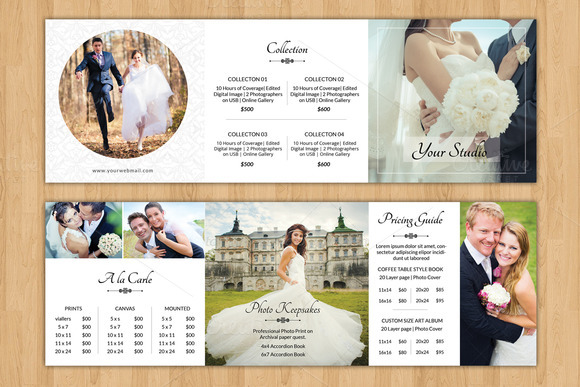 Square trifold pricing brochure v446 brochure templates for Wedding brochure template
