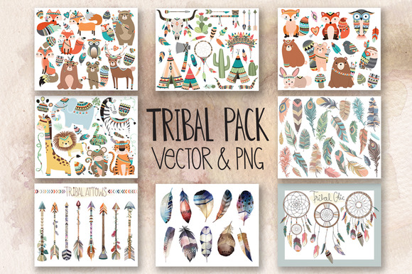 121 Pc Tribal Vector Clipart Bundle