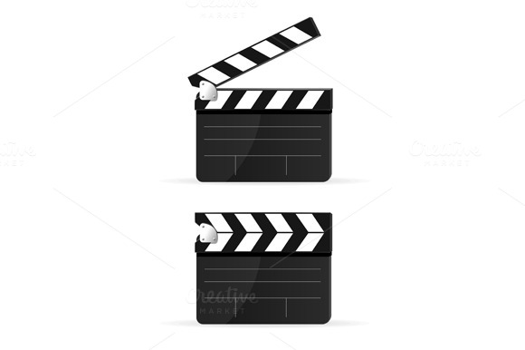 Movie Clapper Board Set . Vector - Objects