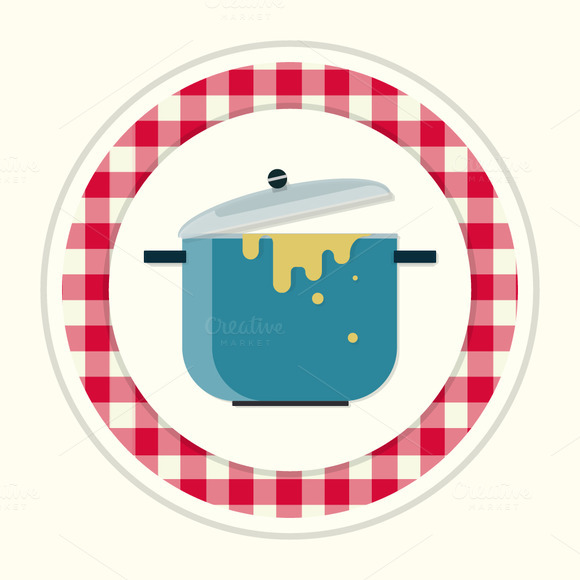 Saucepan. Vintage kitchen icon - Illustrations