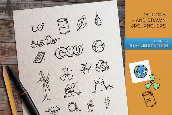 Eco icon set. Vector and PNG. - Icons