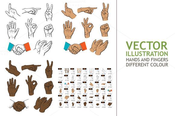 Drawn Hands. A Set of Hands - Illustrations