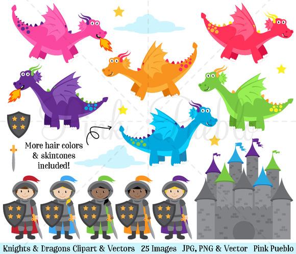 Knights Dragons Clipart Vectors