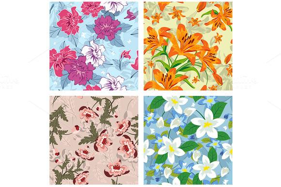 Seamless Floral Patterns Set